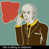 Man is talking on cellphone — Stock Vector