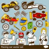 Racing car vector set — Stock Vector