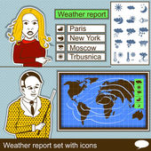 Weather report set with icons — Stock Vector