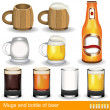 Mugs, glasses and a bottle of beer — Imagen vectorial