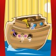 Noah ark cartoon illustration — Imagen vectorial