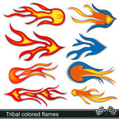 Tribal colored flames design — Stock Vector