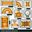 Yellow pipeline elements — Stock Vector