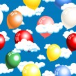Clouds and balloons seamless — Vector de stock