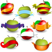 Apples with ribbon banners — Stock Vector