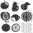 Stock Vector: Puzzle fruits