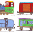Stock Vector: Colored vintage train with wagons