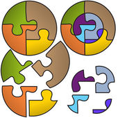 Round puzzle symbols — Stock Vector