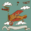 Vintage airplanes  with banner  — Stock Vector