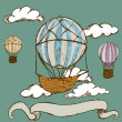 Vintage hot air balloons with banner — Stock Vector