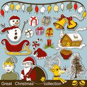 великий мультфильм рождественская коллекция — Cтоковый вектор