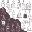 Hand drawn bottles — Stock Vector