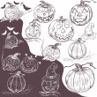 Hand drawn pumpkins — Grafika wektorowa