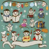 Snowman collection — ストックベクタ