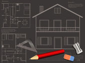 House blueprint background — Vector de stock