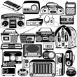 Radio and cassette black icons — Stock Vector