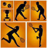 Tennis players — Stock Vector