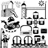 Kids amusement park set — Stock Vector