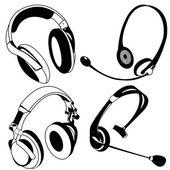 Headphone black icons — Stock Vector
