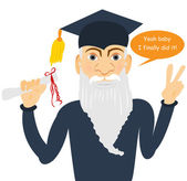 Senior man finally graduated — Stock Vector