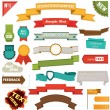 Set of retro ribbons and labels — Stock vektor