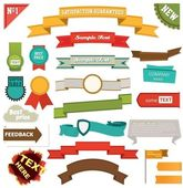 Set of retro ribbons and labels — Vecteur