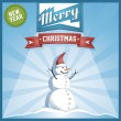 Vector Christmas background with snowman — Stock Vector