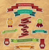 Set of eleven Christmas ribbons — Stock Vector