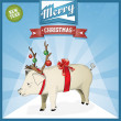 Royalty-Free Stock Vektorfiler: Pig with deer horns - funny Christmas background