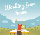 Working from home , Freelancer , vector illustration — Stock Vector
