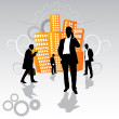 Businesspeople in the city — Stock Vector