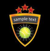 Tennis ball on golden glossy shield — Stok Vektör