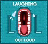 Laughing Out Loud - LOL popular expression illustrated — Stock Vector