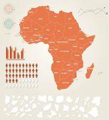 инфографика векторные иллюстрации с картой африки — Cтоковый вектор