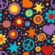 Flower power hippie seamless pattern — Stock Vector