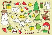 Kids christmas doodle — Stock Vector