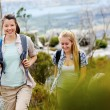 Cheerful friends exploring — Stock Photo