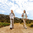 Hiking trekking women — Stock Photo