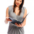 Pretty businesswoman holds a file — Stock Photo