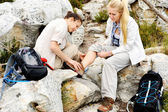 Injured hiker — Stock Photo
