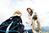 Teamwork outdoors — Stock Photo