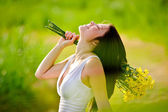 Adorable happy summer woman — Stock Photo