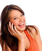 Pozowanie cell phone dziewczyna — Zdjęcie stockowe