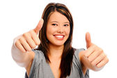 Beautiful woman shows thumbs up — Stock Photo