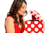 Pretty girl opens her valentines present — Stock Photo