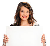 Attractive young woman with blank sign — Stock Photo