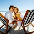 Smiling beach portrait couple — Stock Photo #28392765