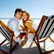 Smiling beach portrait couple — Stock Photo