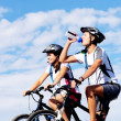 Stock Photo: Drinking cyclist