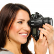 Stock Photo: Pretty womtaking pictures